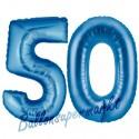 Luftballons aus Folie Zahl 50, Blau, 100 cm mit Helium zum 50. Geburtstag