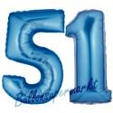 Luftballons aus Folie Zahl 51,Blau, 100 cm mit Helium zum 51. Geburtstag