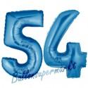 Luftballons aus Folie Zahl 54, Blau, 100 cm mit Helium zum 54. Geburtstag