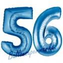 Luftballons aus Folie Zahl 56, Blau, 100 cm mit Helium zum 56. Geburtstag