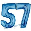 Luftballons aus Folie Zahl 57, Blau, 100 cm mit Helium zum 57. Geburtstag