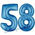 Luftballons aus Folie Zahl 58, Blau, 100 cm mit Helium zum 58. Geburtstag