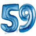 Luftballons aus Folie Zahl 59, Blau, 100 cm mit Helium zum 59. Geburtstag