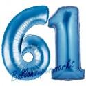 Luftballons aus Folie Zahl 61, Blau, 100 cm mit Helium zum 61. Geburtstag
