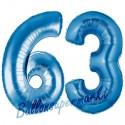 Luftballons aus Folie Zahl 63, Blau, 100 cm mit Helium zum 63. Geburtstag