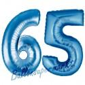 Luftballons aus Folie Zahl 65, Blau, 100 cm mit Helium zum 65. Geburtstag