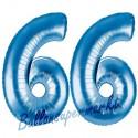 Luftballons aus Folie Zahl 66, Blau, 100 cm mit Helium zum 66. Geburtstag