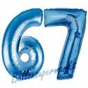 Luftballons aus Folie Zahl 67, Blau, 100 cm mit Helium zum 67. Geburtstag