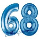 Luftballons aus Folie Zahl 68, Blau, 100 cm mit Helium zum 68. Geburtstag