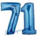Luftballons aus Folie Zahl 71, Blau, 100 cm mit Helium zum 71. Geburtstag