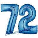 Luftballons aus Folie Zahl 72, Blau, 100 cm mit Helium zum 72. Geburtstag