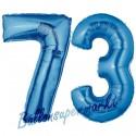 Luftballons aus Folie Zahl 73, Blau, 100 cm mit Helium zum 73. Geburtstag
