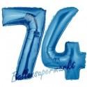 Luftballons aus Folie Zahl 74, Blau, 100 cm mit Helium zum 74. Geburtstag