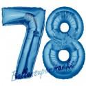Luftballons aus Folie Zahl 78, Blau, 100 cm mit Helium zum 78. Geburtstag