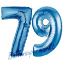Luftballons aus Folie Zahl 79, Blau, 100 cm mit Helium zum 79. Geburtstag