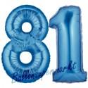 Luftballons aus Folie Zahl 81, Blau, 100 cm mit Helium zum 81. Geburtstag