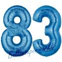 Luftballons aus Folie Zahl 83, Blau, 100 cm mit Helium zum 83. Geburtstag