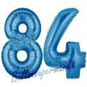 Luftballons aus Folie Zahl 84, Blau, 100 cm mit Helium zum 84. Geburtstag