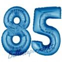 Luftballons aus Folie Zahl 85, Blau, 100 cm mit Helium zum 85. Geburtstag