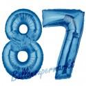 Luftballons aus Folie Zahl 87, Blau, 100 cm mit Helium zum 87. Geburtstag