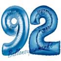 Luftballons aus Folie Zahl 92, Blau, 100 cm mit Helium zum 92. Geburtstag