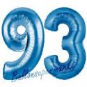 Luftballons aus Folie Zahl 93, Blau, 100 cm mit Helium zum 93. Geburtstag
