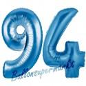 Luftballons aus Folie Zahl 94, Blau, 100 cm mit Helium zum 94. Geburtstag