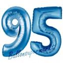 Luftballons aus Folie Zahl 95, Blau, 100 cm mit Helium zum 95. Geburtstag
