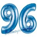 Luftballons aus Folie Zahl 96, Blau, 100 cm mit Helium zum 96. Geburtstag