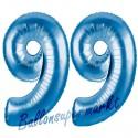 Luftballons aus Folie Zahl 99, Blau, 100 cm mit Helium zum 99. Geburtstag