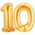 Luftballons aus Folie Zahl 10, Gold, 100 cm mit Helium zum 10. Geburtstag