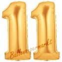 Luftballons aus Folie Zahl 11, Gold, 100 cm mit Helium zum 11. Geburtstag