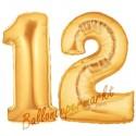 Luftballons aus Folie Zahl 12, Gold, 100 cm mit Helium zum 12. Geburtstag