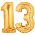 Luftballons aus Folie Zahl 13, Gold, 100 cm mit Helium zum 13. Geburtstag