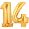 Luftballons aus Folie Zahl 14, Gold, 100 cm mit Helium zum 14. Geburtstag