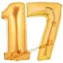 Luftballons aus Folie Zahl 17, Gold, 100 cm mit Helium zum 17. Geburtstag