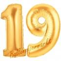 Luftballons aus Folie Zahl 19, Gold, 100 cm mit Helium zum 19. Geburtstag