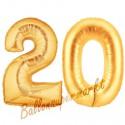 Luftballons aus Folie Zahl 20, Gold, 100 cm mit Helium zum 20. Geburtstag