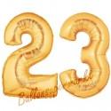 Luftballons aus Folie Zahl 23, Gold, 100 cm mit Helium zum 23. Geburtstag