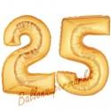 Luftballons aus Folie Zahl 25, Gold, 100 cm mit Helium zum 25. Geburtstag