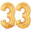 Luftballons aus Folie Zahl 33, Gold, 100 cm mit Helium zum 33. Geburtstag