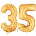 Luftballons aus Folie Zahl 35, Gold, 100 cm mit Helium zum 35. Geburtstag