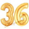 Luftballons aus Folie Zahl 36, Gold, 100 cm mit Helium zum 36. Geburtstag
