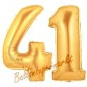 Luftballons aus Folie Zahl 41, Gold, 100 cm mit Helium zum 41. Geburtstag