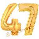 Luftballons aus Folie Zahl 47, Gold, 100 cm mit Helium zum 47. Geburtstag