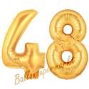 Luftballons aus Folie Zahl 48, Gold, 100 cm mit Helium zum 48. Geburtstag