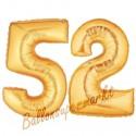 Luftballons aus Folie Zahl 52, Gold, 100 cm mit Helium zum 52. Geburtstag