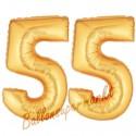 Luftballons aus Folie Zahl 55, Gold, 100 cm mit Helium zum 55. Geburtstag