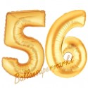 Luftballons aus Folie Zahl 56, Gold, 100 cm mit Helium zum 56. Geburtstag