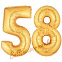 Luftballons aus Folie Zahl 58, Gold, 100 cm mit Helium zum 58. Geburtstag